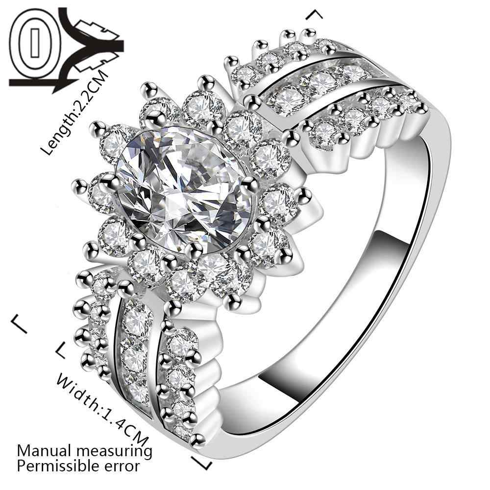 Wholesale Silver-plated Ring,Silver Fashion Jewelry,Vertical Three Rows Stone Crown Zircon Silver Finger Rings