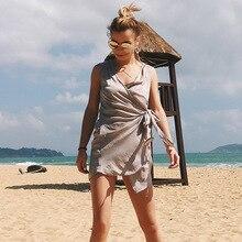 New Design Personalized Sexy Sleeveless V-neck Irregular bow Sheath Lady Boho Dress