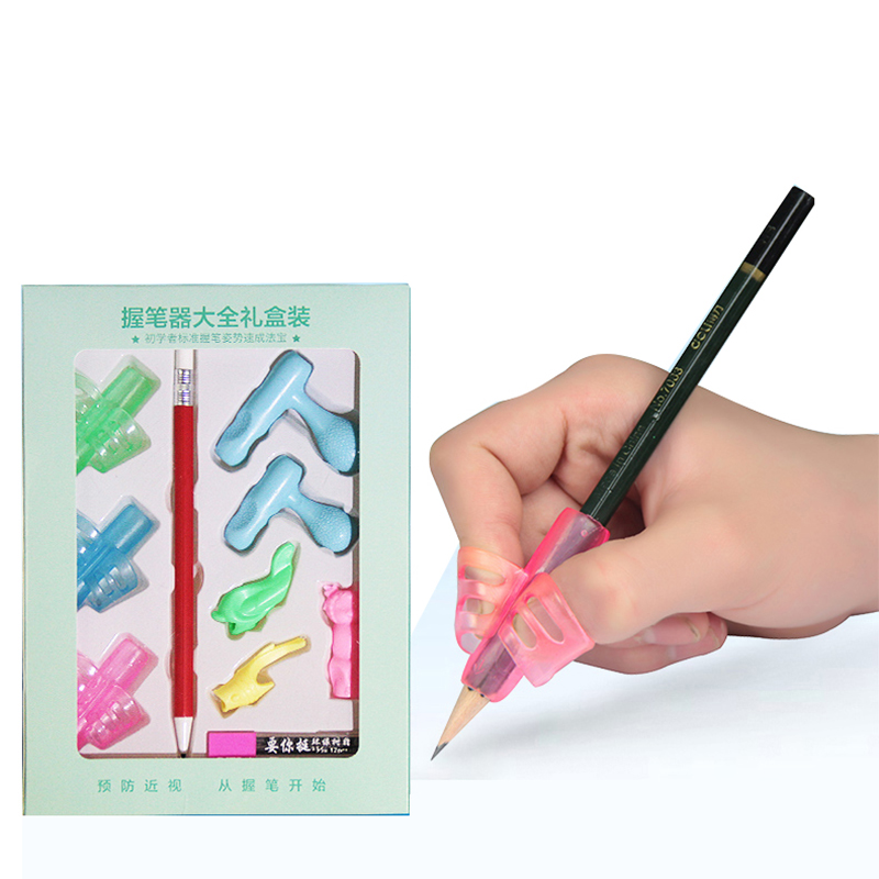 Children Silicone Pencil Holder Pen Two finger Writing Aid Grip Posture Correction Tool Students Kids Gift pen pencil grip red