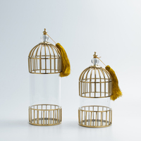 High End Gold Metal Bird Cage Hollow Shape Candlestick Holder Tabletop Iron Candle Holder Home Wedding Decorative Accessories