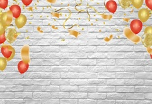 Laeacco Photo Backdrops Gray Brick Wall Balloons Birthday Kid Child Portrait Photographic Backgrounds Photocall Studio
