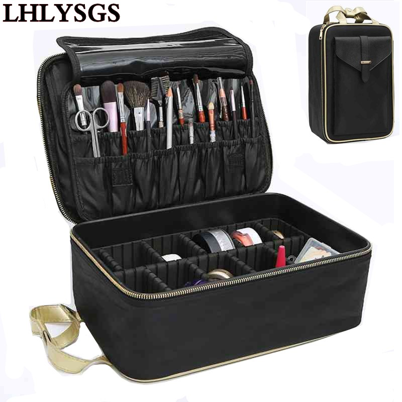 LHLYSGS Brand Suitcase Three-Layer Cosmetic Box Bag Women Beauty Professional Cosmetic Case For MakeUp Tattoos Nail Art Tool Bin travel aluminum blue dji mavic pro storage bag case box suitcase for drone battery remote controller accessories