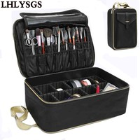 LHLYSGS Brand Suitcase Three Layer Cosmetic Box Bag Women Beauty Professional Cosmetic Case For MakeUp Tattoos