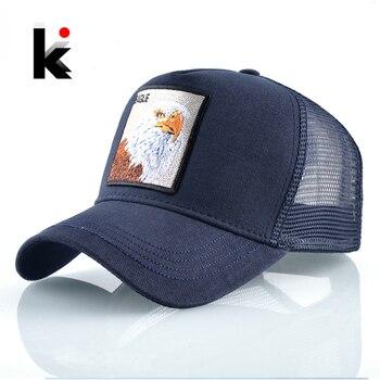 Embroidery Baseball Caps Men 2019 Eagle Snapback Hats For Women Fashion USA Hip Hop Bones Breathable Mesh Streetwear Trucker Cap 1