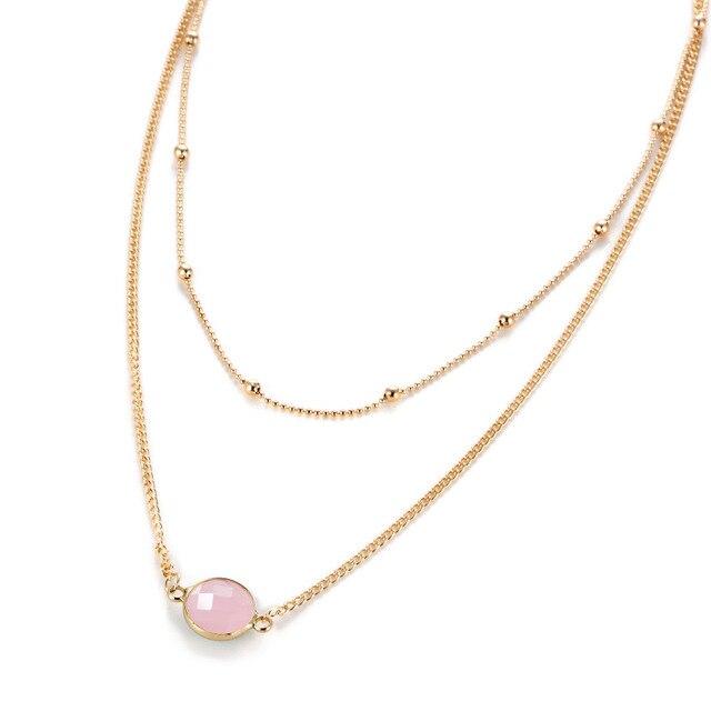 b2a0906f55de Moda multilayer oro color Gargantillas lujo de Piedra Rosa cadena neclace  para las mujeres Niñas clavícula