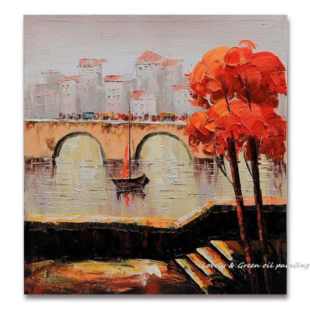 City Bridge Thick Textured 100% Hand Painted Modern Landscape Oil Painting On Canvas Wall Art Home Decoration Gift 50x50cm