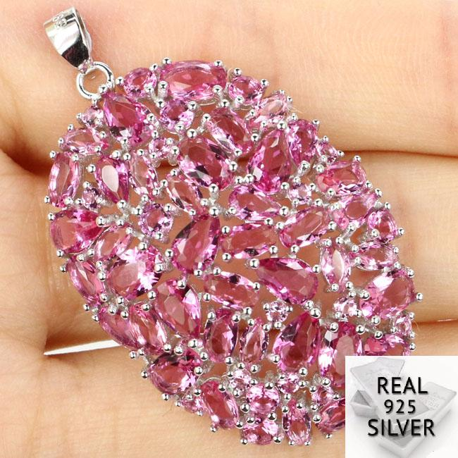 Guaranteed Real 925 Solid Sterling Silver 6.8g Gorgeous Long Big Heavy Pink Tourmaline Pendant 44x27mmGuaranteed Real 925 Solid Sterling Silver 6.8g Gorgeous Long Big Heavy Pink Tourmaline Pendant 44x27mm