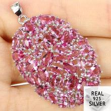 Guaranteed Real 925 Solid Sterling Silver 6.8g Gorgeous Long Big Heavy Pink Tourmaline Pendant 44x27mm
