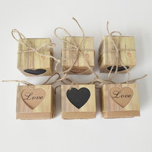 10 unids/set corazones en amor rústico Kraft Bark Candy Box Vintage cajas de Favor de la boda(China)