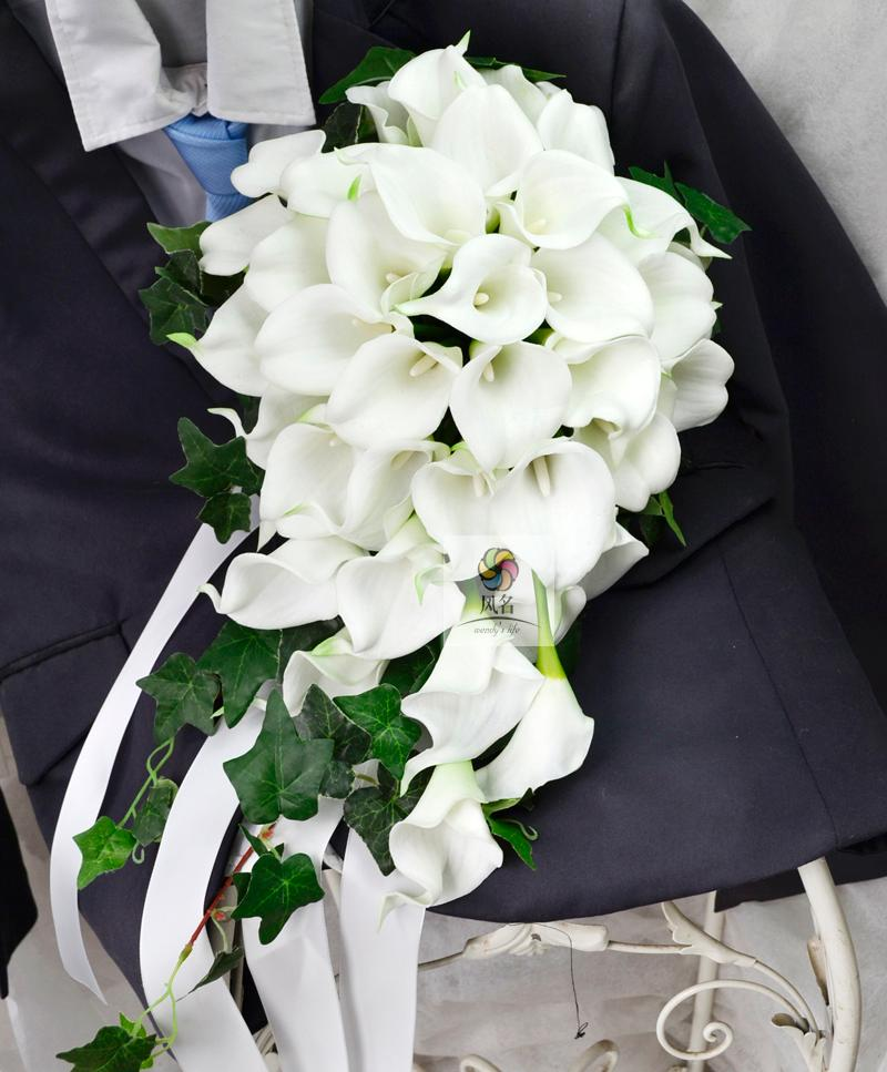 Waterfall Style Handmade Wedding Bouquets Floral Bridal Bridemaids Bouquet white PU calla lily Artificial Flowers Holding