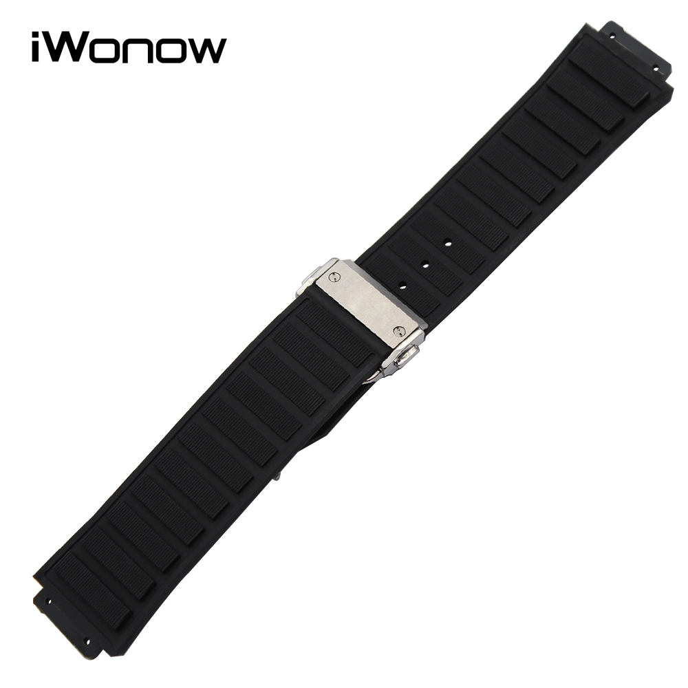 30 x 20mm Silicone Rubber Watchband for HUB Watch Band Convex Strap Stainless Steel Butterfly Buckle Belt Wrist Bracelet Black curved end stainless steel watch band for breitling iwc tag heuer butterfly buckle strap wrist belt bracelet 18mm 20mm 22mm 24mm