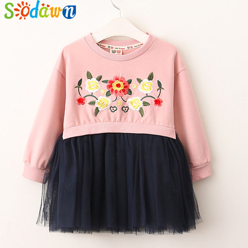 Sodawn Autumn New Girls Dress Autumn New Clothes Girl Clothes Flowers Embroidery Stitching Yarn Dress Baby Princes Dress