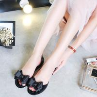 Bowknot Students Summer Bar Sandals Jelly 2017 New Fish Mouth Flat Sand Beach Shoes Crystal