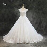 Vestido De Noiva Wedding Dresses 2018 Long Ball Gown Lace Appliques Beading Elegant Wedding Gown Lace