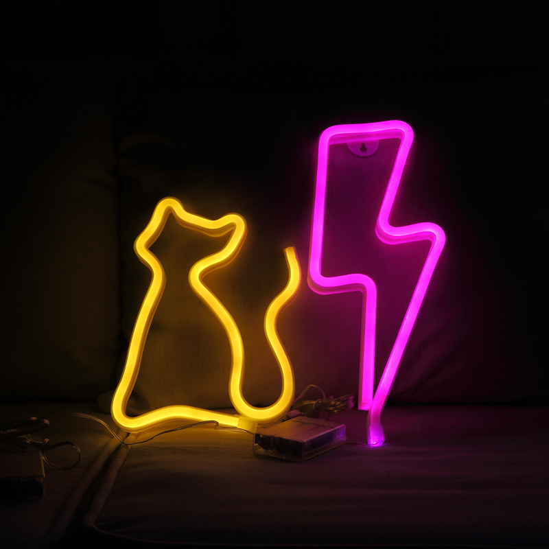Cat Lightning Neon Light Sign Children Room Decoration Lighted Party Supplies Wall Decoration Sign Dream Lamp Home Decor