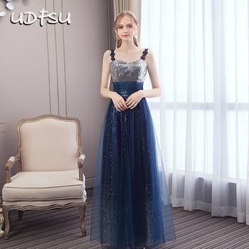 UDFSU Women Off Shoulder Spaghtti Strap Evening Dress Sequined Backless Party Dresses V-Neck Elegant A-Line Gown