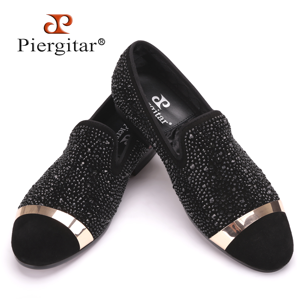 Piergitar Handmade Black Diamonds Mens Suede Loafer accessorized Gold Strap with Satin and Leather Insole for Banquet and Prom