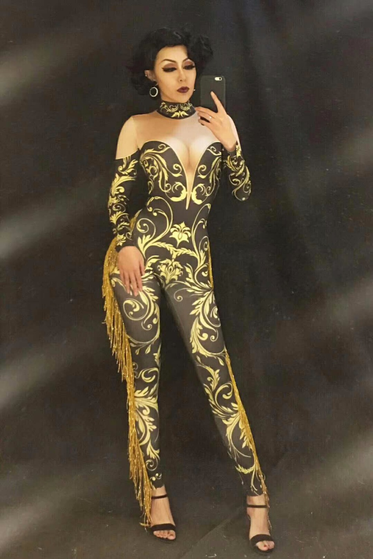 Fashion Print Tassel Longsleeve Jumpsuit Skinny Jazz Dance Costume Performance Jacket Bodysuit Outfit Female Singer Stage Wear