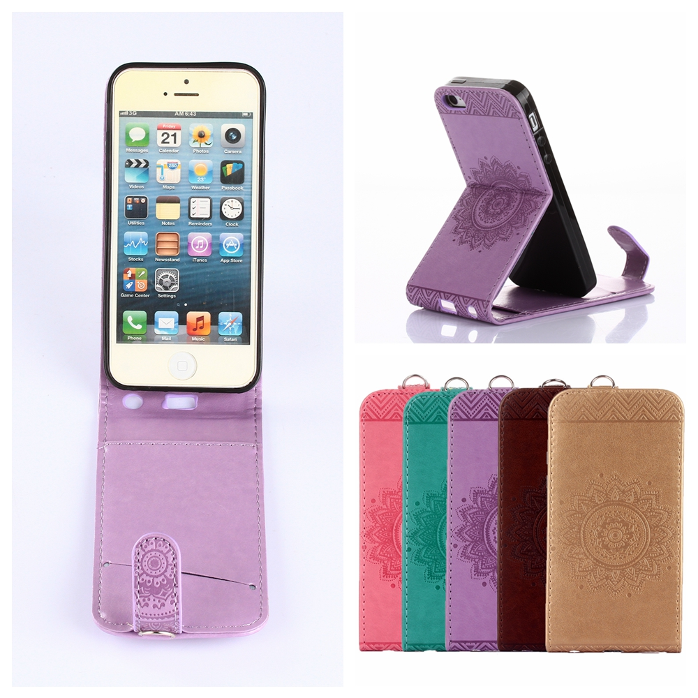 cheap for discount 436dd 2d3ea For iPhone 5s Case Retro Datura Flower Leather Phone Cases Cover ...