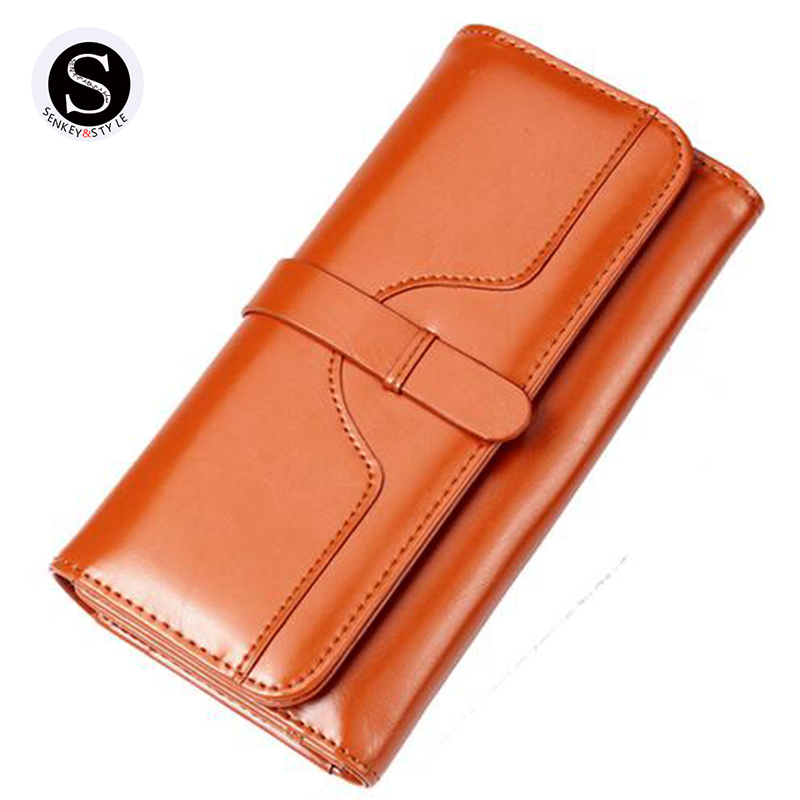 Senkey Style 2017 womens wallets and purses famous brand long money clip wallet women luxury leather clutch girl retro ladies pu leather wallet men luxury famous brand designer coffee money clip open clamp clip carteira magica bid083 pm49