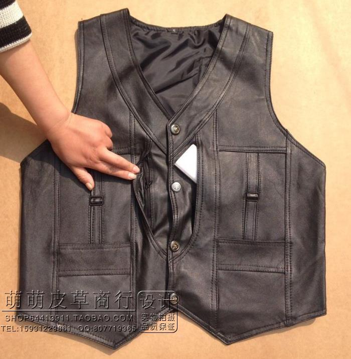 BOU 2018 leather vest male first layer of sheep skin leather vest spring and Pima