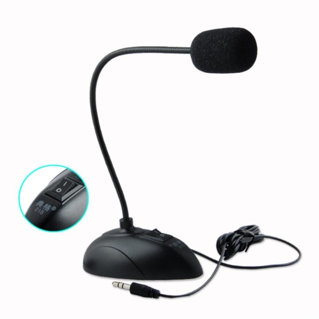 YCDC Flexible Stand Mini Studio Speech Microphone 3.5mm Plug Gooseneck Mic Wired Microphone for Computer PC Desktop Notebook