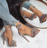 עקבי סנדלי נשים 2018 אופנה קיץ משאבות סנדלים סקסיים קיץ סנדלי רצועות עקבים גבוהים נשים פרווה ארנב באיכות נוחות