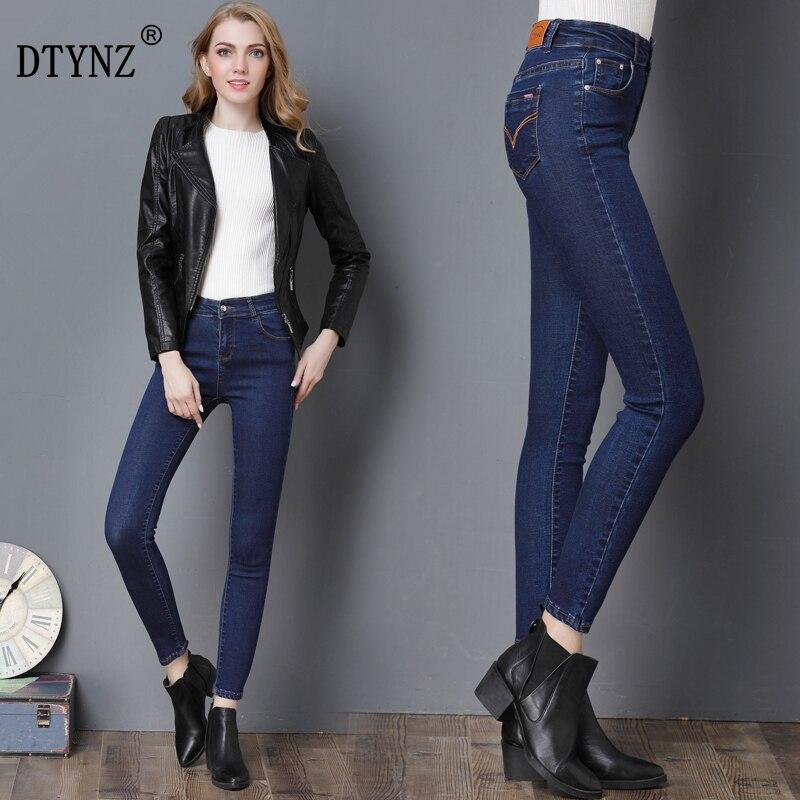 DTYNZ 2018 más pantalones vaqueros de talla grande para mujer pantalones vaqueros negros azules de cintura alta pantalones de mezclilla para mujer Pantalones elásticos ajustados