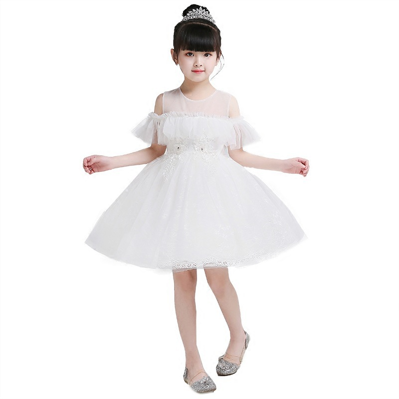 New Spring Summer White   Flower     Girl     Dresses   For Wedding Custom Made Pageant   Dress   Sleeveless and Appliques