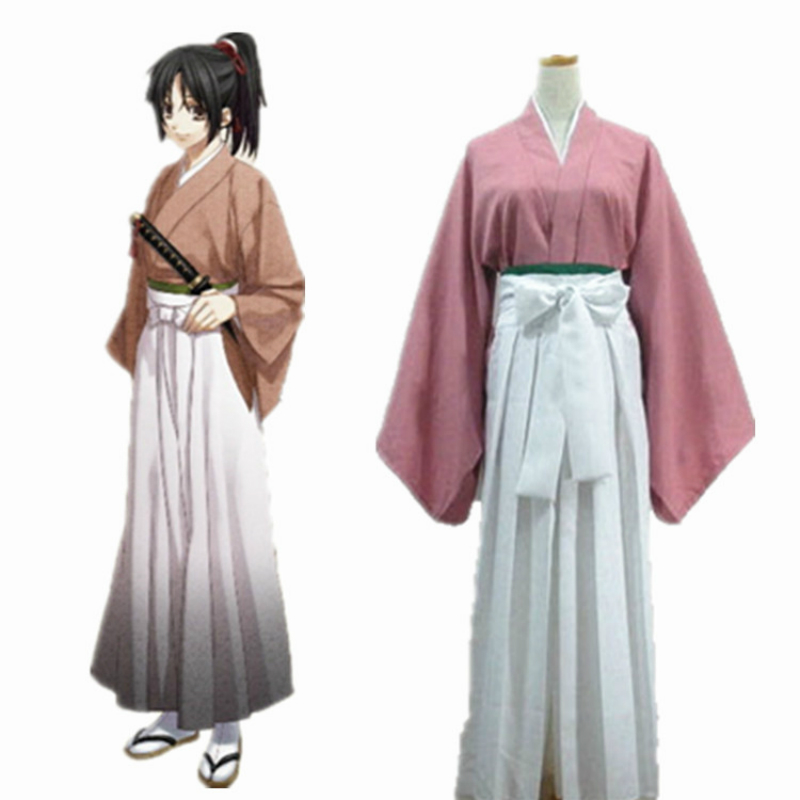 Anime Cosplay for Hakuouki Yuki Hana Japanese Kimono Clogs and Wigs Vestidos Costume Adult in Carnival Halloween Party