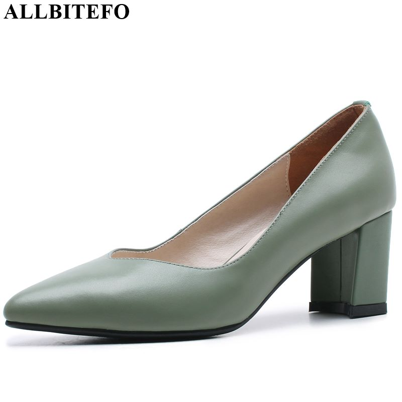 ALLBITEFO  Natural Genuine Leather High Heel Shoes Office Ladies Women Heels New Spring Autumn Fashion Girl High Thick Heels