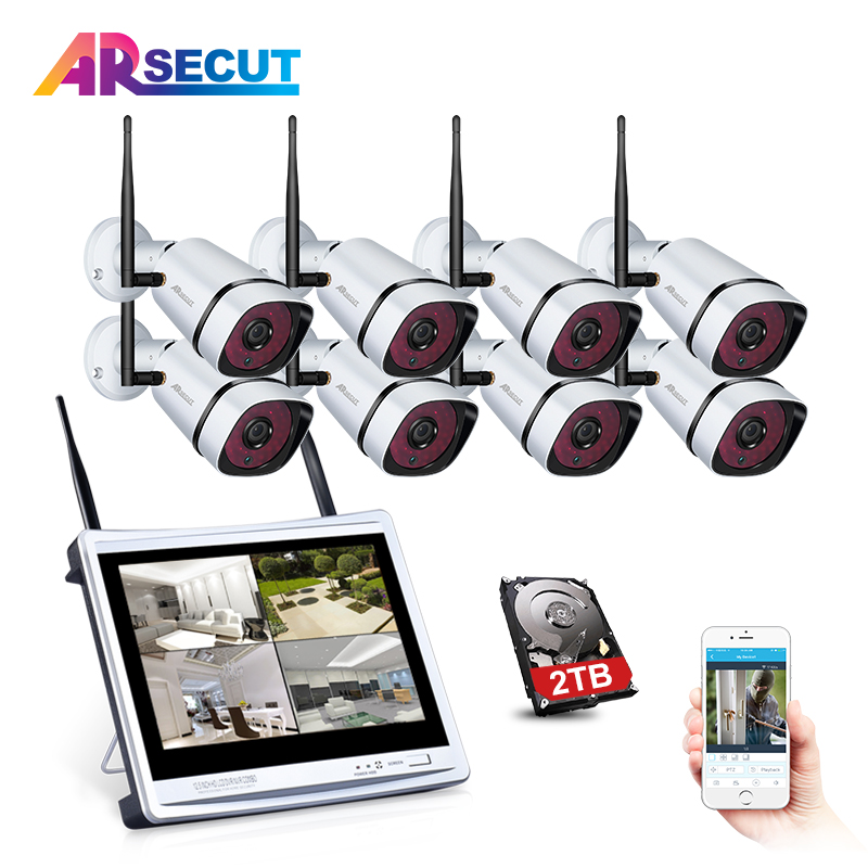ARSECUT Wireless Security Camera System 8CH Wifi NVR Kit 960P HD Wifi Security Camera Outdoor Night Vision CCTV Camera System sunchan cctv system 960p 8ch hd wireless nvr outdoor ir night vision 1280 960 ip camera wifi camera kit home security system