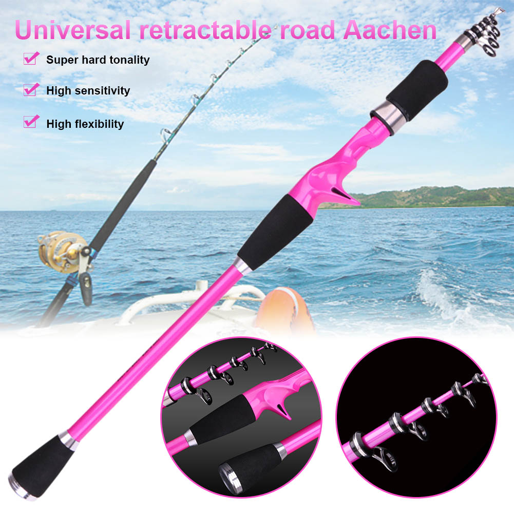 Carbon Fiber Telescopic Fishing Rod 1.8 2.4M Portable  Fishing Ultra short  Rod Hand Tackle Sea Ocean Lightweight Fishing Rods-in Fishing Rods from Sports & Entertainment