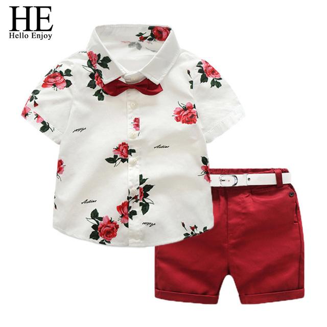 HE Hello Enjoy Boy Summer Clothing Sets 2019 Boys Clothes Kids Short Sleeves Print Shirt+Flower Shorts Suits Children Clothing