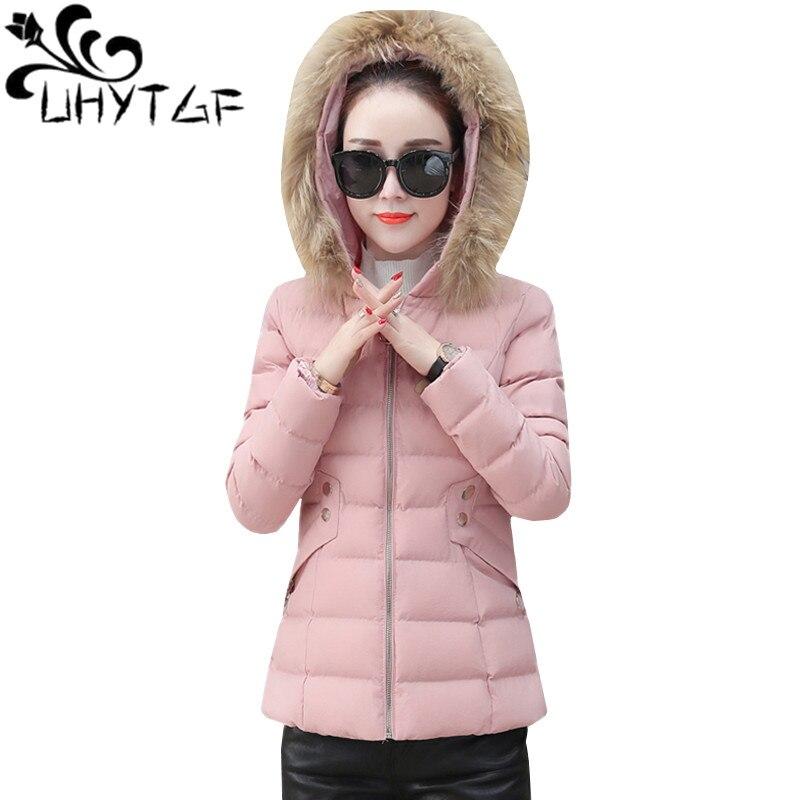 UHYTGF Down Jacket Women Cotton Slim Short Coat Winter Jacket Women   Parka   Overcoat Warm Fur collar Hooded Cotton-padded Coat 149