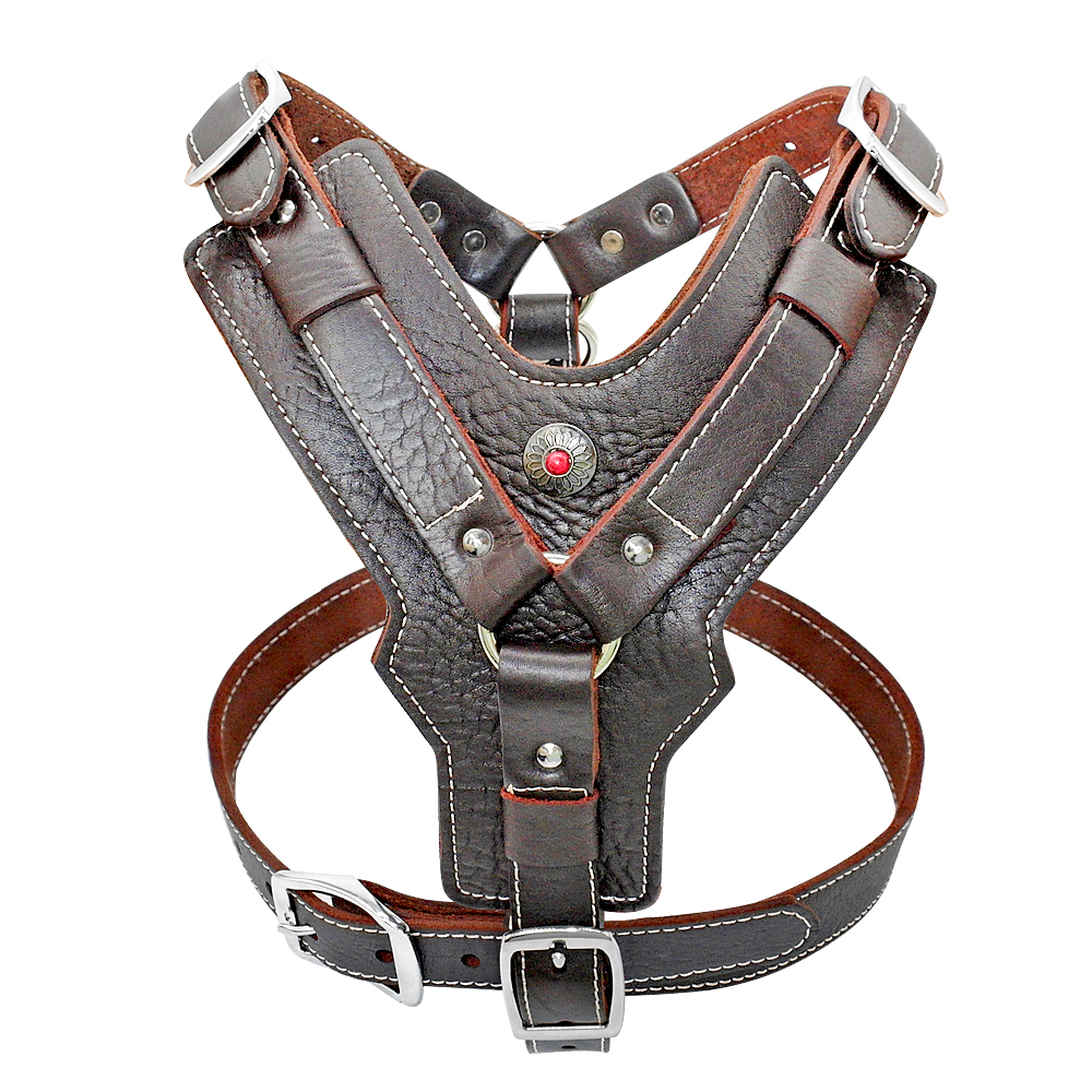 Genuine Leather Dog Harness for Large Dogs Vest With Quick Control Handle Adjustable Dog Harness