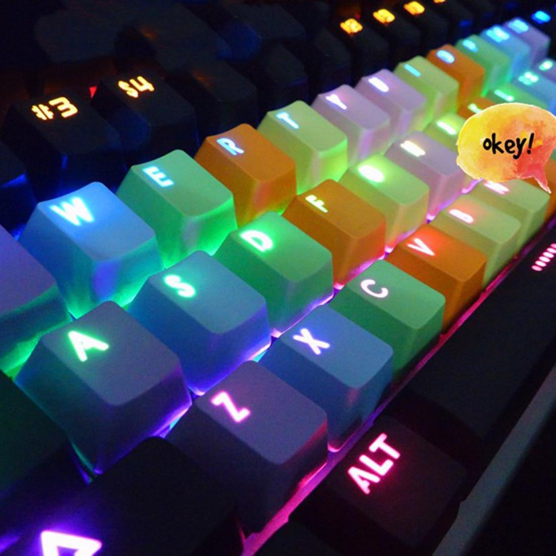 Backlight PBT 37keys Double Shot Translucidus Backlight Backlit Rainbow Keycaps for Mechanical Keyboard