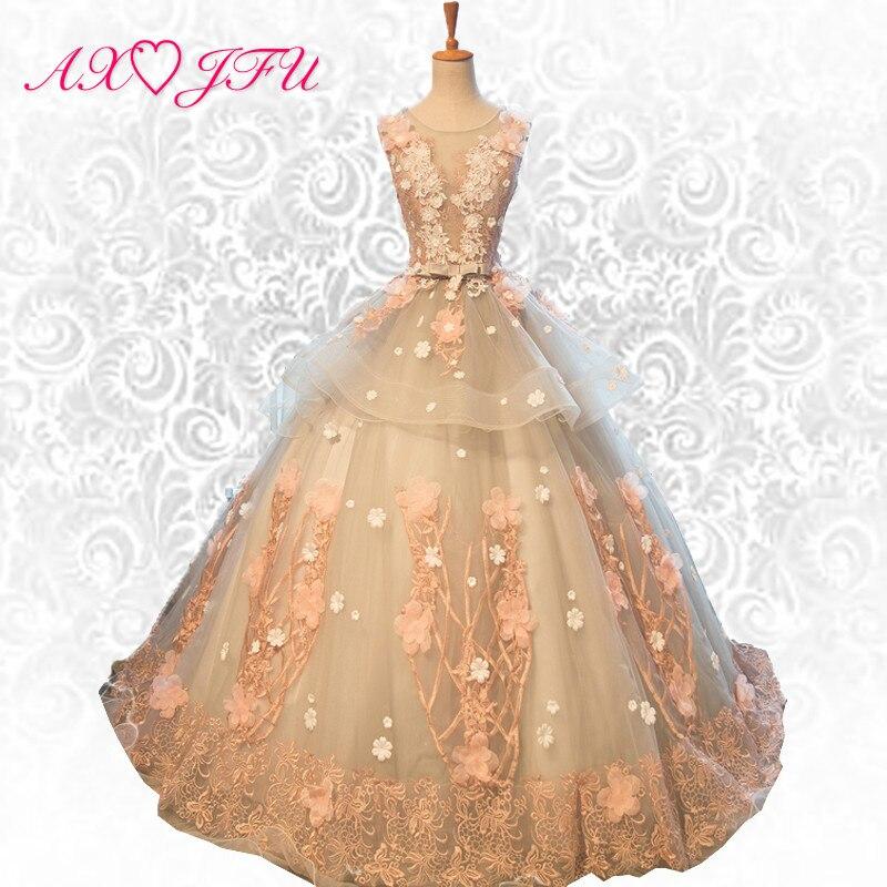AXJFU fleur princesse dentelle robe de soirée n'importe quelle couleur personnaliser made fleur de ruches de soirée en dentelle robe arc de soirée robe 455