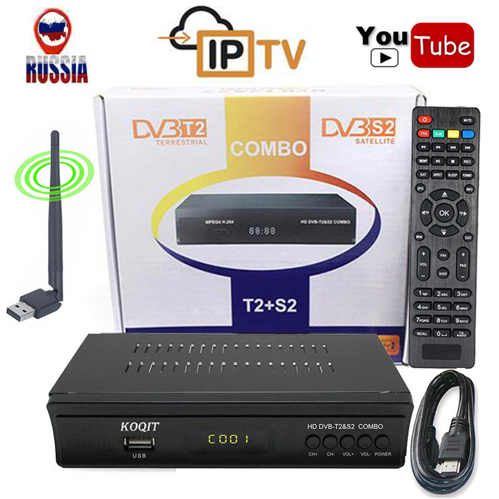 KOQIT Russische Digitalen Terrestrischen Satellite Rezeptor DVB-T2 + DVB-S2 Tv Tuner IPTV Combo Youtube CS Protokoll H.264 AC3 Wifi IKS
