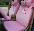 18 unids cute hello kitty seat covers para las mujeres leopard impresión Felpa Corta Universal FIt All Car SUV Asiento interior accesorios