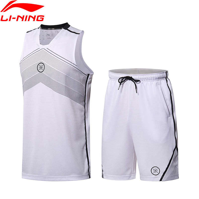 (Clearance)Li-Ning Men Wade Basketball Suits 100% Polyester Slim Fit LiNing Sports Uniform T-shirt Shorts Sets AATN001 MSY171