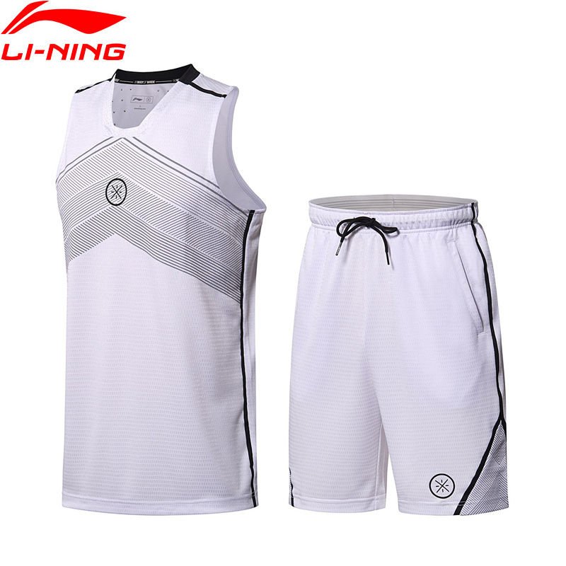Li-Ning Men Wade Basketball Suits 100% Polyester Slim Fit Comfort LiNing Sports Uniform T-shirt Shorts Sets AATN001 MSY171 libo breathable fitness sleeveless basketball suits for male