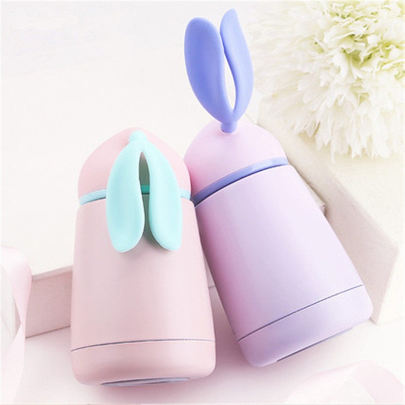 300ML Gradient Rabbit Children Feeding Cup Stainless Steel Milk Thermos Kids Hot Water Bottle Belly Leak-<font><b>poof</b></font> Travel Mug As Gift image