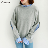 White Sweater Collar Female Head Of Korean Students Tide False Two 2017 Loose Stitching In Spring