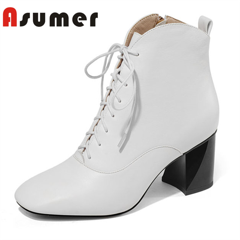 ASUMER HOT SALE 2018 square toe ankle boots for women strange heels zip shallow boots high quality simple genuine leather bootsASUMER HOT SALE 2018 square toe ankle boots for women strange heels zip shallow boots high quality simple genuine leather boots