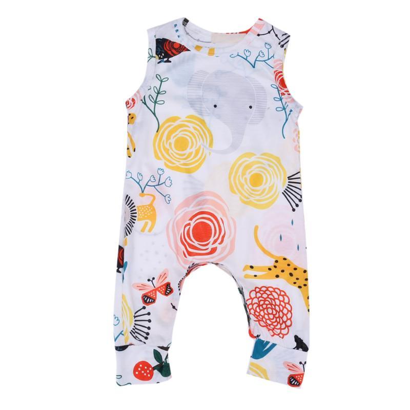где купить  Infant Baby Girl Clothes Cartoon Animal Plants Printed Baby Romper Sleeveless Girl Climbing  One-pieces Jumpsuits Baby Clothing  по лучшей цене