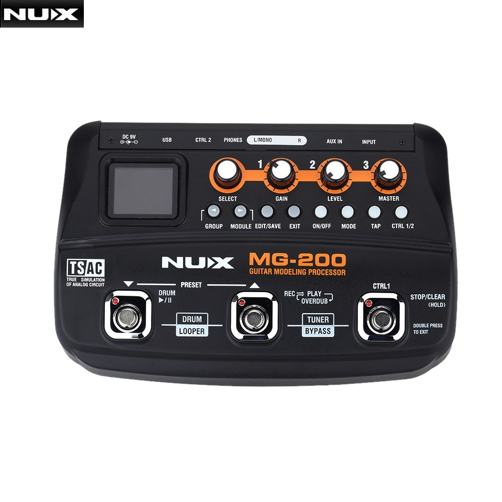 nux mg 200 guitar modeling processor guitar multi effects processor with 55 effect models eu. Black Bedroom Furniture Sets. Home Design Ideas