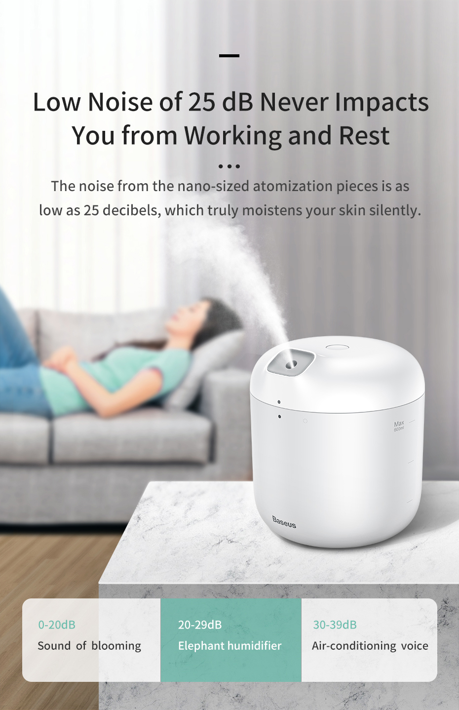 Baseus Humidifier Air Humidifier Diffuser For Office Home with LED Night Light