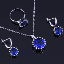 Unusual Round Blue Cubic Zirconia White CZ 925 Sterling Silver Jewelry Sets For Women Earrings Pendant Chain Ring V0279