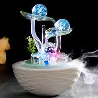 Wealth bring Good Luck Water fountain Fengshui crafts home decoration new year gifts office desk business gifts tan color